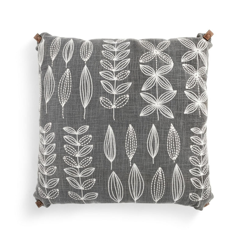 Embroidered Gray Leaf Pillow