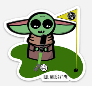 "Baby Yoda Putting Vinyl Decal (3"")"