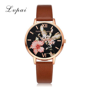 Lvpai Brand Rose Flower Simple Leather Women Watch
