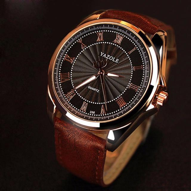 Fashion Men's Stainless Leather Steel Military Sport Quartz