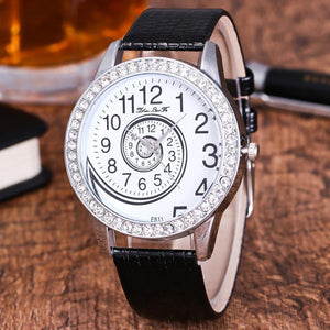 Female Fashion Temperament Leather With Simulated Quartz Round Watch