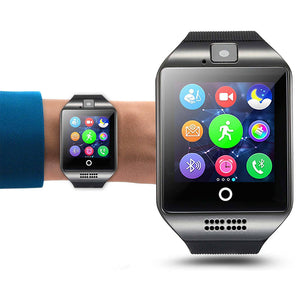 Q18 Smart Bluetooth Smartwatch Phone with Camera TF/SIM Card Slot GSM Anti-lost Watch (Black)