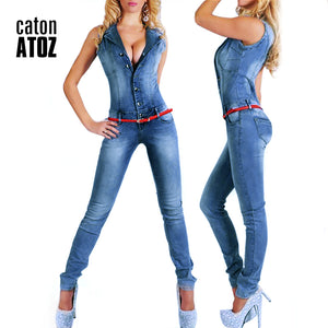 catonATOZ 2043 New Arrival  Sleeveless Denim Romper Jumpsuit