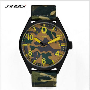 SINOBI luxury brand camouflage nylon air force Army waterproof quartz watch