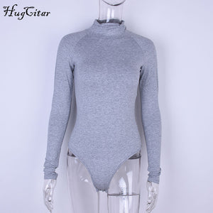 Hugcitar cotton long sleeve high neck skinny sexy bodysuit