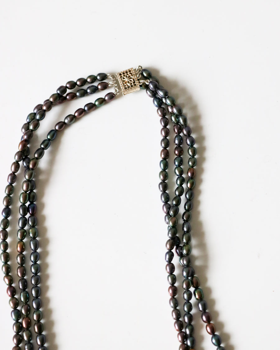 Black Pearl Triple Strand Necklace