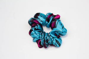 Silk Ankara Super Scrunchie - Teal Pink