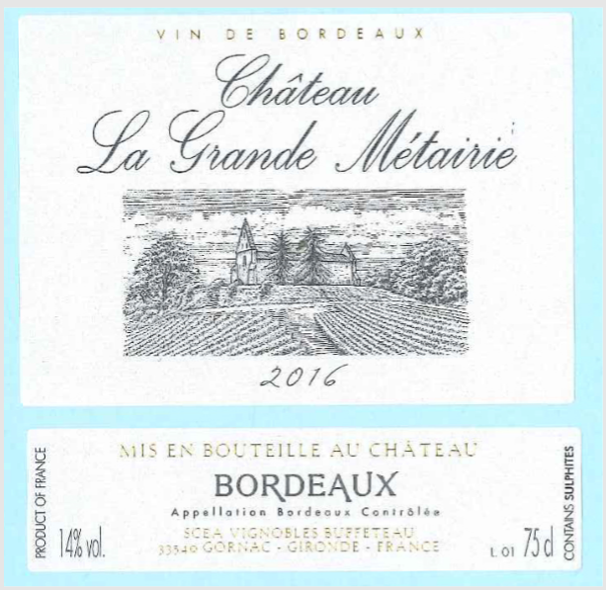 Load image into Gallery viewer, Château La Grande Metairie Bordeaux Rouge 2016