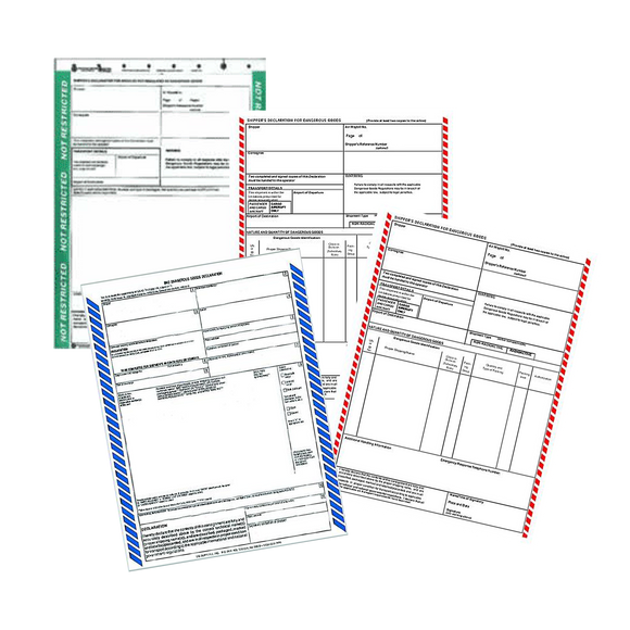 Shippers Declaration Forms [Dangerous Goods]