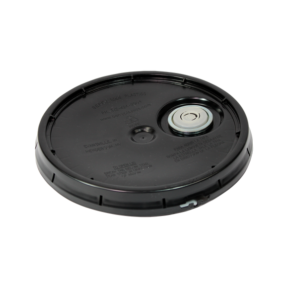 5 GALLON LID BLACK WITH SR. RIEKE INSTALLED L40STSRS  <b>(48/Case)</b>