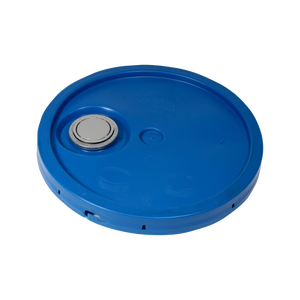 5 GALLON, NON UN, CHEVRON BLUE OPEN HEAD LID WITH SENIOR RIEKE LO-VISC - NOT TEAR TAB (ROPAK #LVG02C04101)  <b>(240/Tray)</b>
