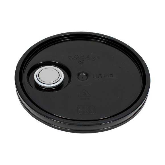 LID 5 GAL BLACK UN SR. RIEKE INSTALLED (ROPAK #U5G00Z02101) <b>(24/Case)</b>