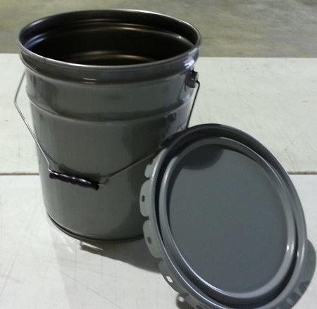 5-Gallon Open Head Grey Steel Pail w/Solid Cover