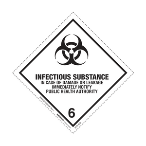 "Class 6 Infectious Labels (500 Roll, 4""x4"") - (DG62)"