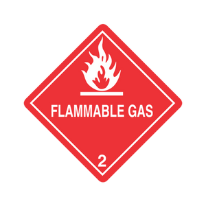 "Class 2 Flammable Gas Labels (100 Roll, 4""x4"") - (DGHZ21)"
