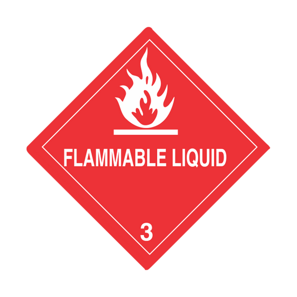 Class 3 Flammable Liquid Labels (100 Roll, 4
