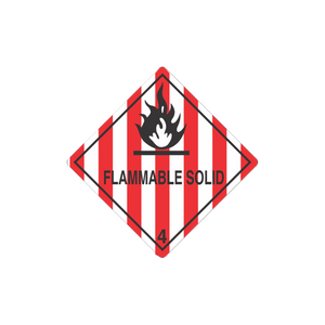 "Class 4 Flammable Solid Mini-Labels (500 Roll, 1""x1"") - (DGMINI41)"