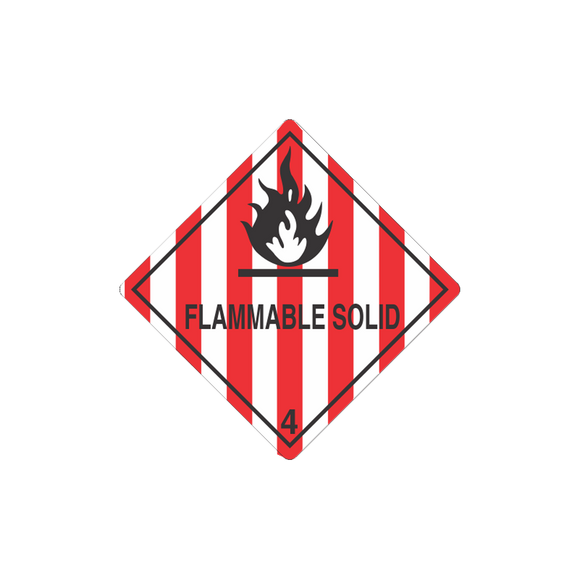 Class 4 Flammable Solid Mini-Labels (500 Roll, 1