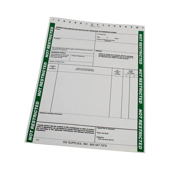 Non-Hazardous Materials Form for Air Transport (100 Pack) - (SD2)