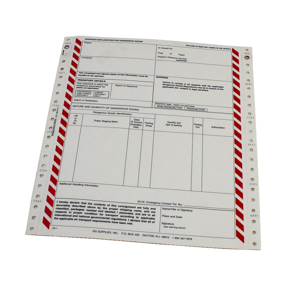 Shipper's Declaration Form - 4 Part Carbonless - Pin Feed - Case of 2500 Sheets - (SD4)