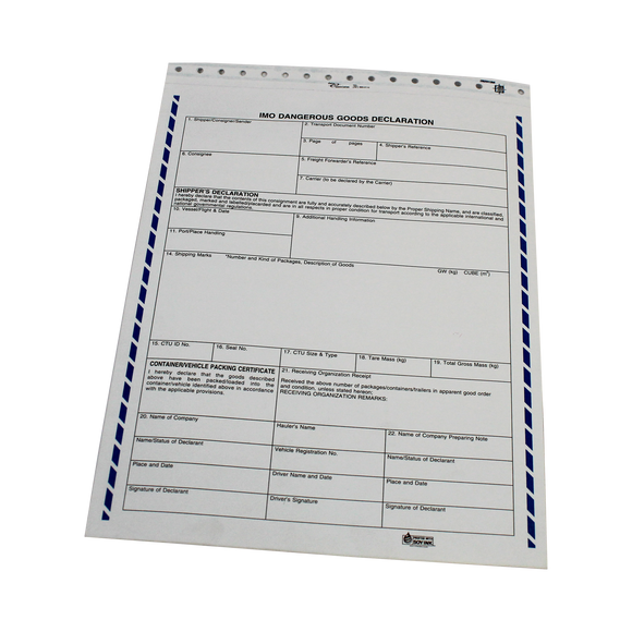 Shipper's Declaration Form for transporting DG by Sea (Blank, Candy Stripe) - (SDM1)