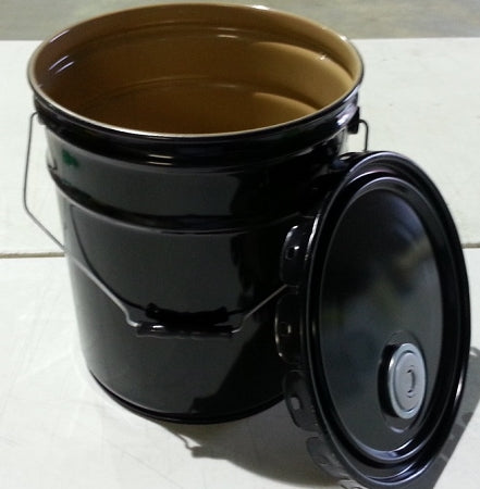 5-Gallon Clear Phenolic-Lined Open-Head Black Steel Pail w/Rieke FlexSpout