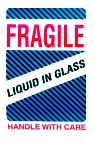 Fragile - Liquid In Glass Handling Labels, Pressure Sensitive