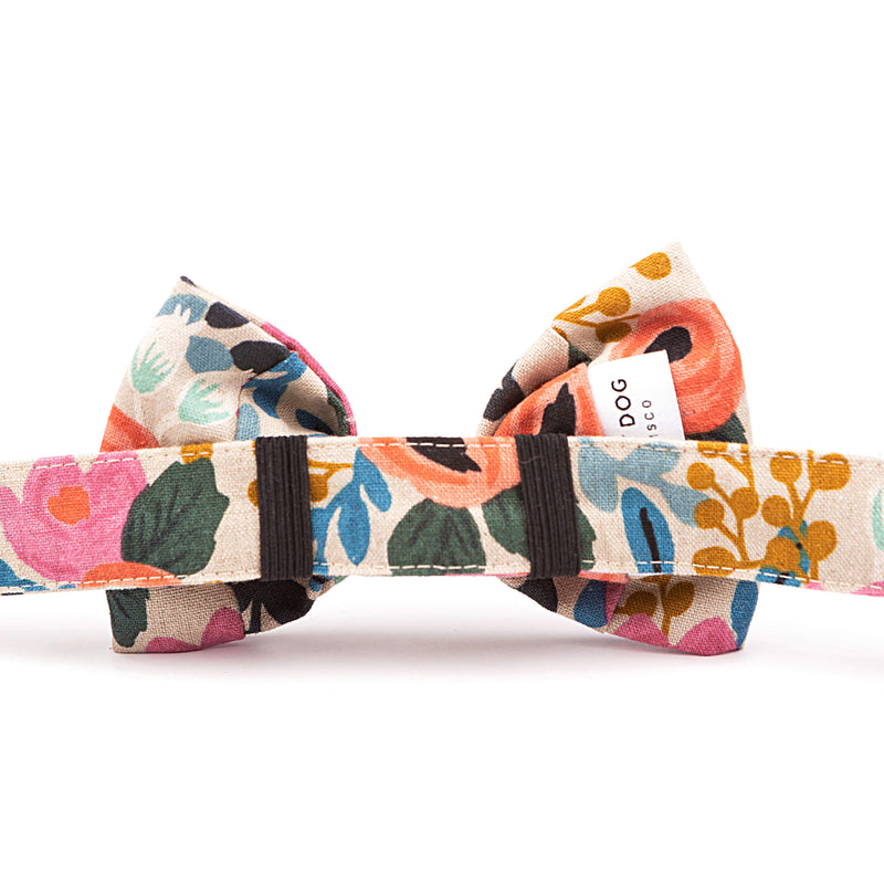 Rosa Floral Natural Bow Tie