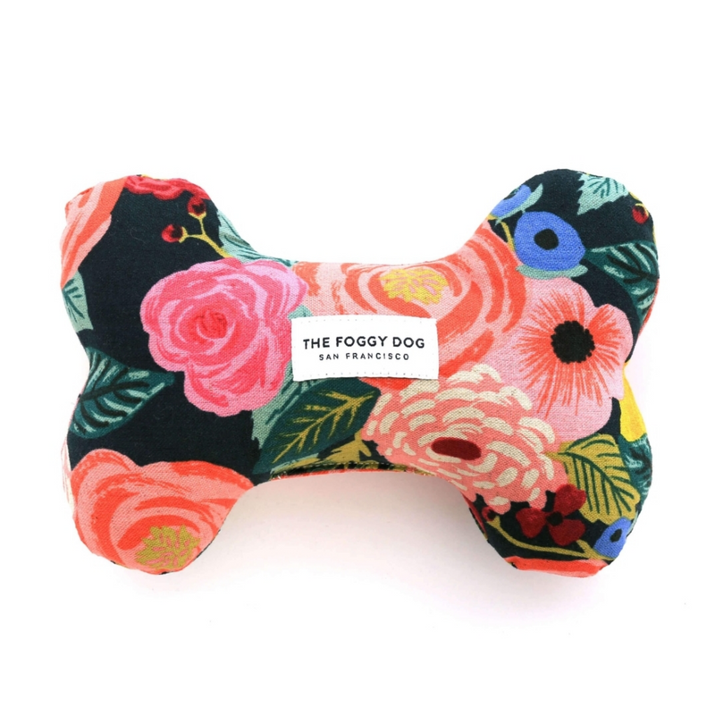Painted Peonies Midnight Dog Bone