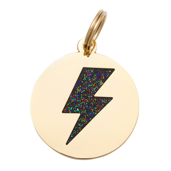 Lightning Bolt Collar Tag - Black + Gold