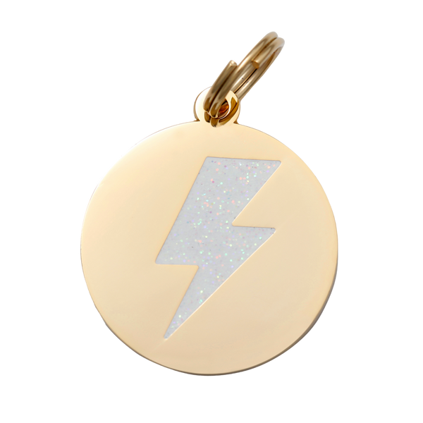 Lightning Bolt Collar Tag - White + Gold