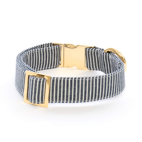 Denim Railroad Stripe Dog Collar