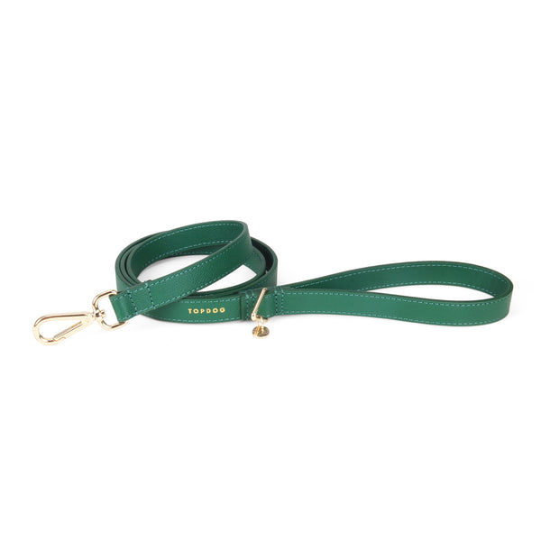Leather Lead - Evergreen