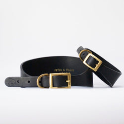 Hound Leather Dog Collar - Black