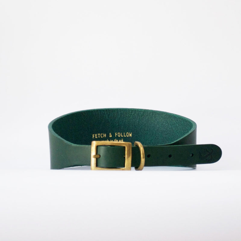 Hound Leather Dog Collar - Green