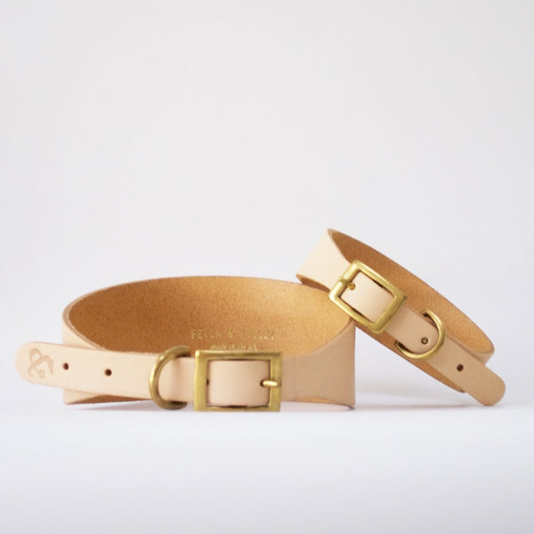 Hound Leather Dog Collar - Natural
