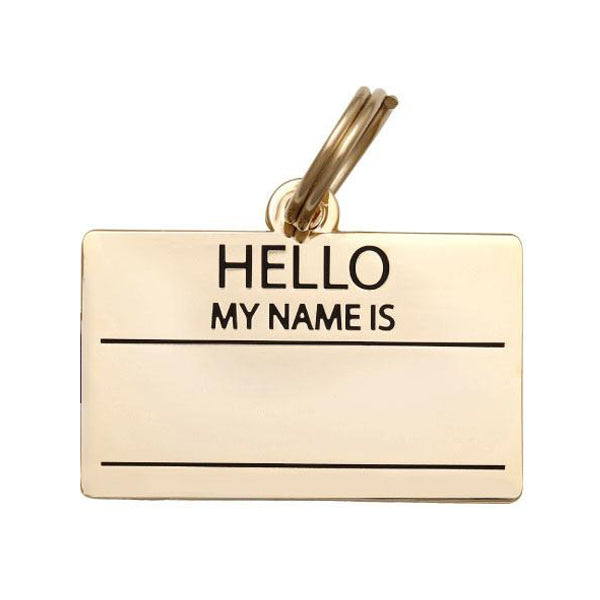'Hello my name is' Collar Tag