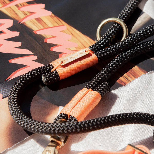 Climbing Rope Leash - Black + Peach