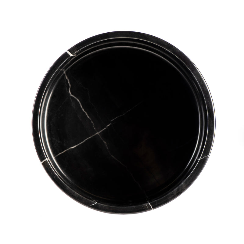 Marble Dog Bowl - Black Carrara