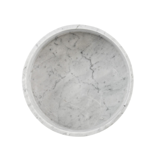Marble Dog Bowl - White Carrara