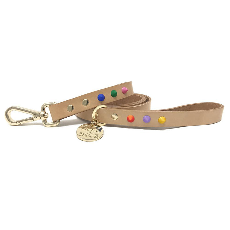 Smooth Spike Leather Leash - Memphis Tan