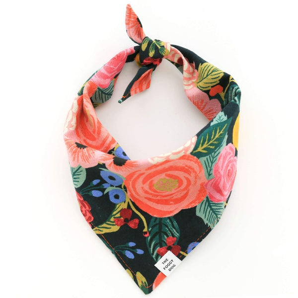 Painted Peonies Midnight Bandana