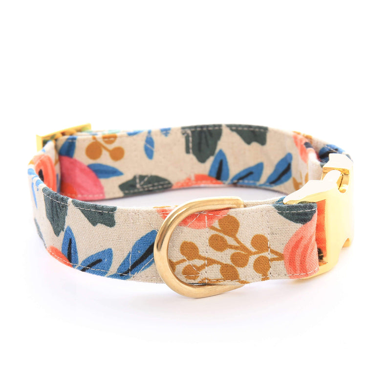 Rosa Floral Natural Dog Collar