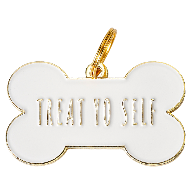Treat yo Self Collar Tag - White