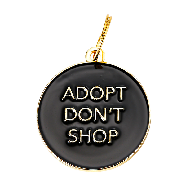 Adopt Don't Shop Collar Tag - Black