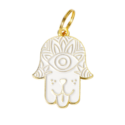 Dog Hamsa Collar Tag - White