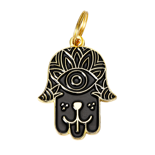 Dog Hamsa Collar Tag - Black