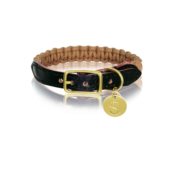 Macramé & Leather Dog Collar - Biscuit