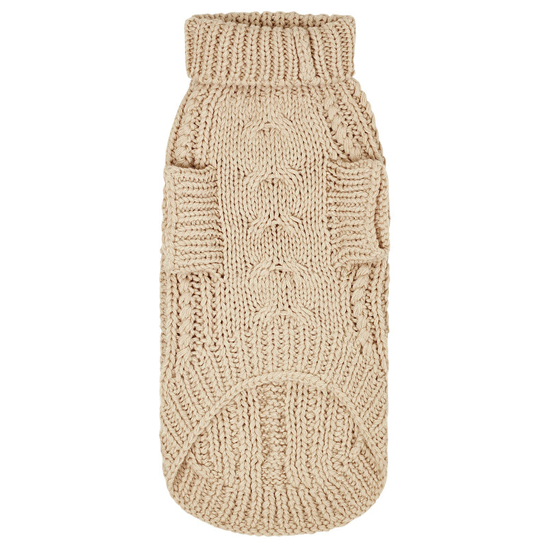 Merino Wool Cable Knit Dog Sweater - Oat