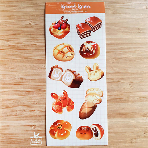 Transparent sticker sheet | Bread buns